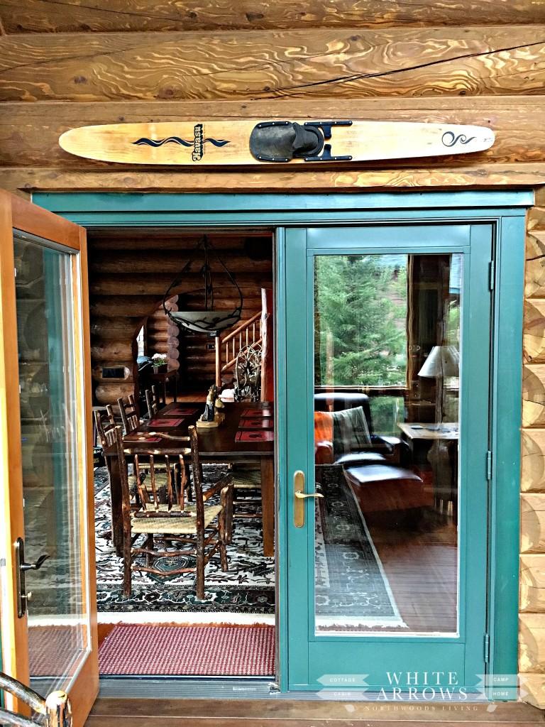 Log Home, Vintage Water Ski, Sunroom