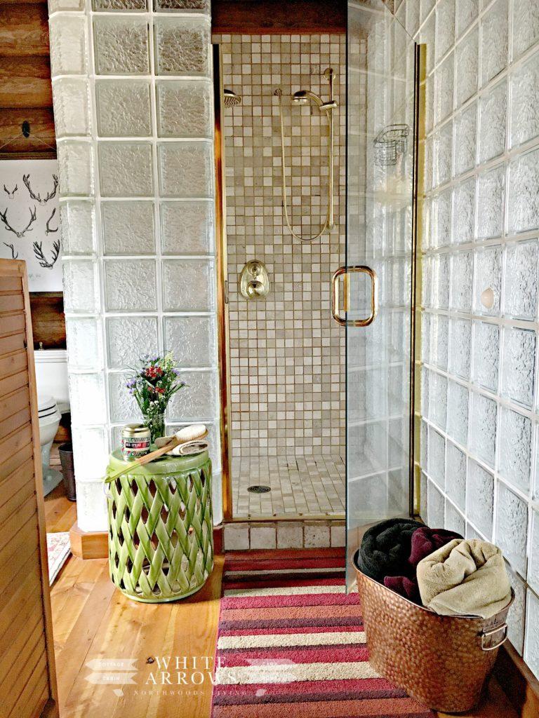 Master Bathroom, Bathroom, Tiled Shower, Shower Stool, Antler Print, Painted Fox Home, Log Home, Log Cabin