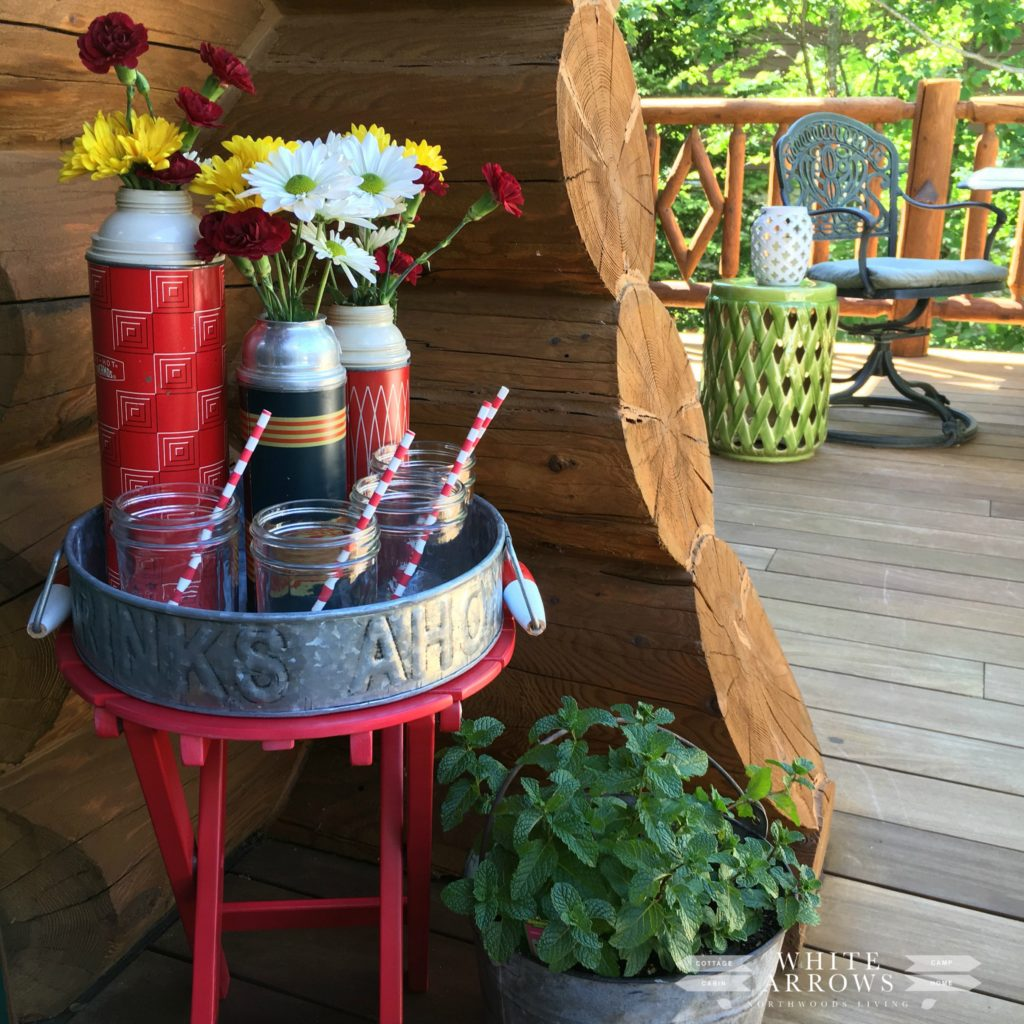 tin tray, vintage thermos, summer decor, plaid thermos, porch decor, entertaining, paper straws, vintage vases, mason jars, garden stool, mint, patio