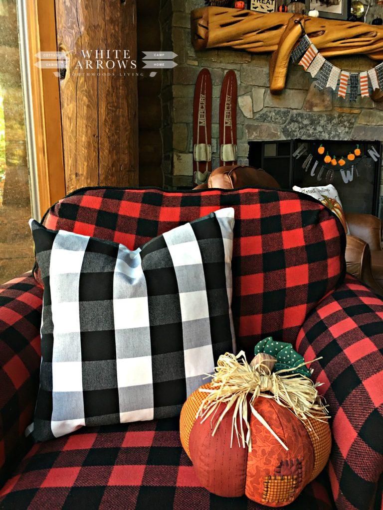 buffalo plaid, fall decor, quilted pumpkin