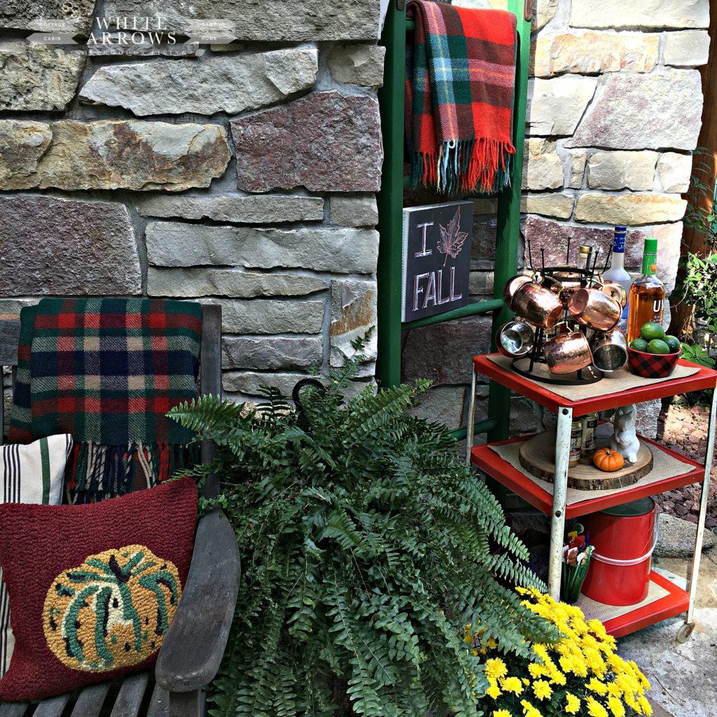 outdoor entertaining, fern, moscow mule, bar cart, mum, vintage, camp blanket