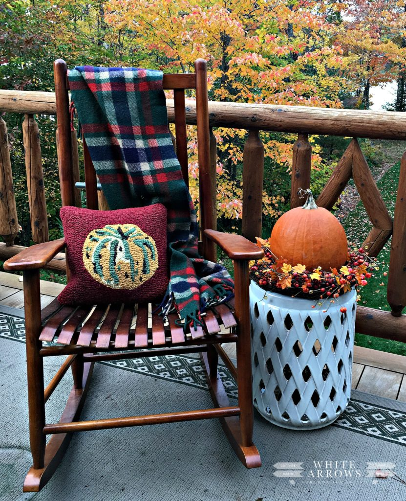fall decor, camp blanket, pumpkin, rocking chair, garden stool, plaid