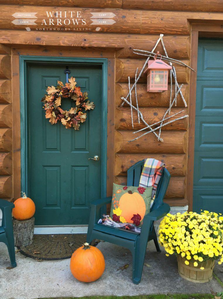 Garage, Green Door, Autumn Decor, Pumpkins