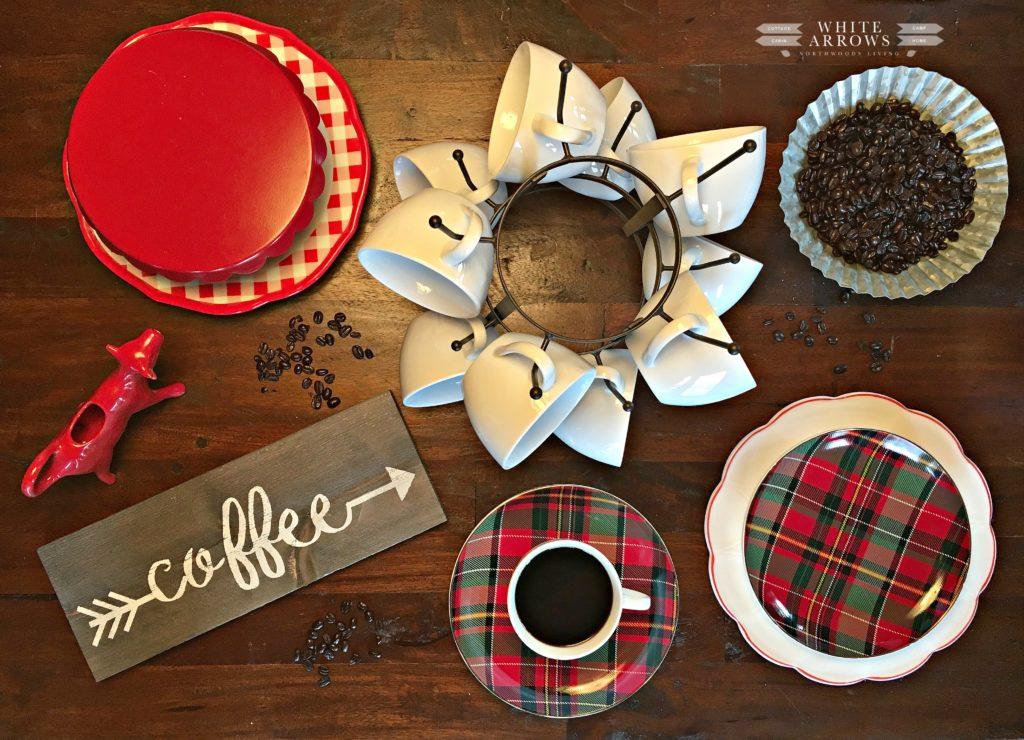 coffee, flatlay, coffee bar, mug rack, plaid dishes