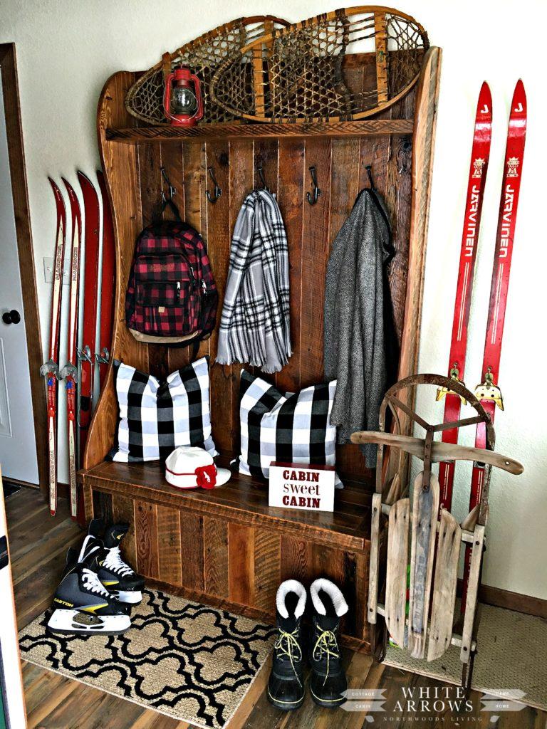mud room, entry way, barn wood, buffalo plaid, vintage, vintage skis, vintage snowshoes, hall tree, vintage sled, rustic, rustic decor, Stormy Kromer, winter decor
