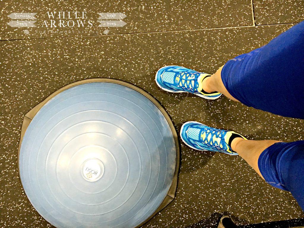 Fitness, BOSU ball, Hoka shoes, workout room