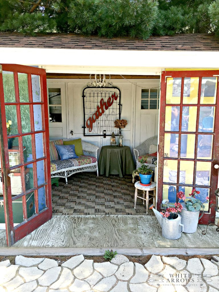 Antique Shop, Sayner, WI, Red Door Relics, fire pit, upcycled doors, garden art