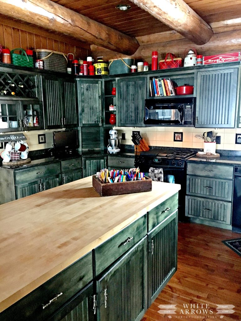 log cabin, log home, cabin, cabin style, cabin kitchen, rustic decor, kitchen cabinets, green cabinets, kitchen