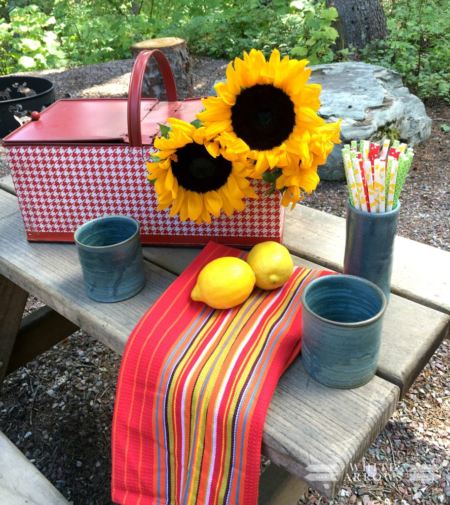 Vintage, vintage picnic basket, lemonade, picnic, pottery, sunflowers