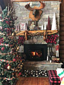 Christmas Mantle, Log Cabin, Cabin, Buffalo Plaid, Rustic Christmas, Stone Fireplace