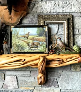 Thanksgiving-mantel-golds-pheasants